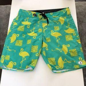Volcom neon flamingo swim trunks sz 34